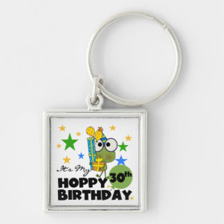 Froggie Hoppy 30th Birthday Silver-Colored Square Key Ring