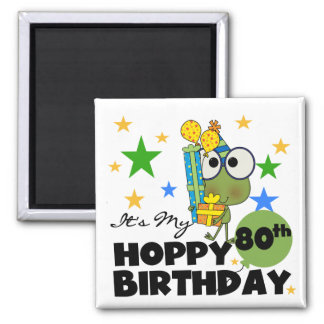 Froggie Hoppy 80th Birthday Square Magnet