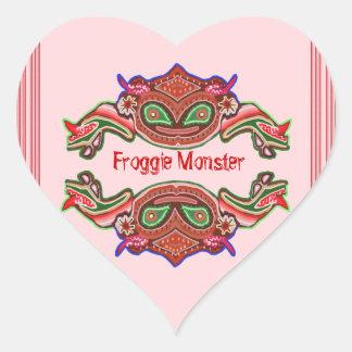 Froggie Monster - Frog Cartoon Heart Sticker