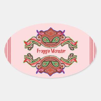 Froggie Monster - Frog Cartoon Oval Sticker