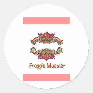 Froggie Monster - Frog Cartoon Round Sticker