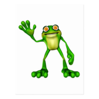 Froggie the Cute Cartoon Waving Frog Postcard