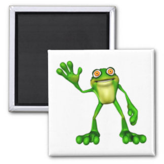 Froggie the Cute Cartoon Waving Frog Square Magnet