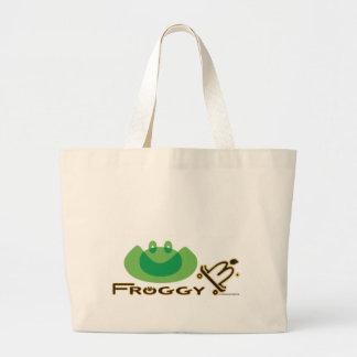 Froggy B. Tote Bag, Skateboard Art Jumbo Tote Bag