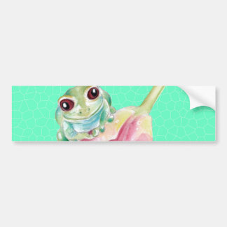 Froggy green bumper sticker