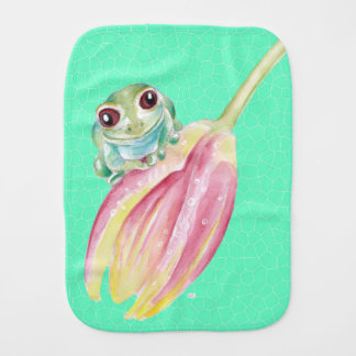 Froggy green burp cloth