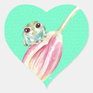 Froggy green heart sticker