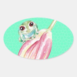 Froggy green oval sticker