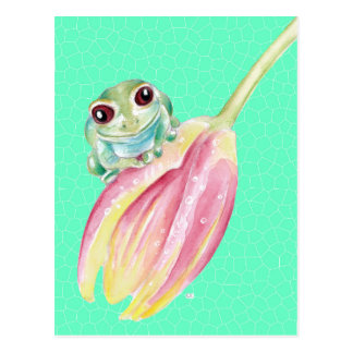 Froggy green postcard