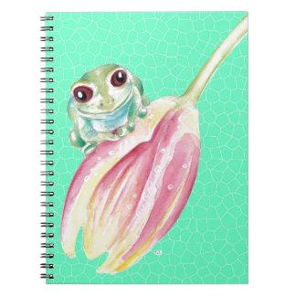 Froggy green spiral notebook