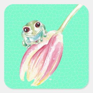 Froggy green square sticker