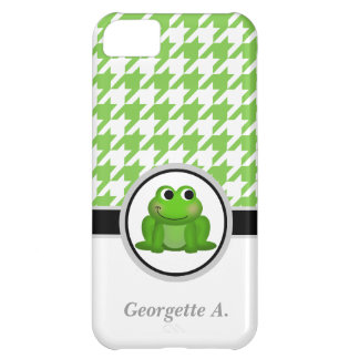 Froggy Green & White Houndstooth iPhone 5 Case