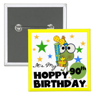 Froggy Hoppy 90th Birthday Button