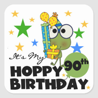 Froggy Hoppy 90th Birthday Square Sticker