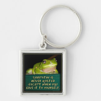 Froggy Sympathy is Never Wasted Silver-Colored Square Key Ring