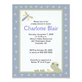 Froggy Tales Blue Border Baby Shower Invitation