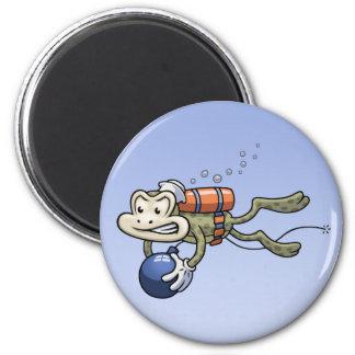 Frogman 6 Cm Round Magnet