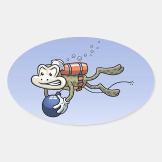 Frogman Oval Sticker