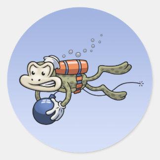 Frogman Round Sticker