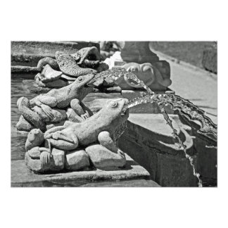 Frogs. Fragment of the fountain. Photo Print