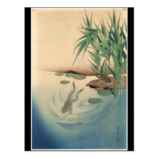 Frogs in a Pond, Japanese Art circa 1800s Postcard