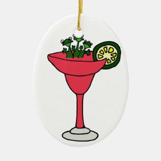 Frogs in Margarita Glass Ceramic Ornament