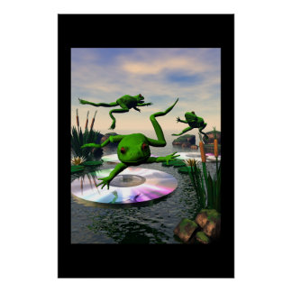 Frogs Jumping on CD Lily Pads Poster