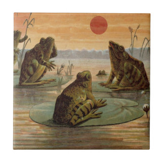 Frogs on Lily pads Vintage Small Square Tile