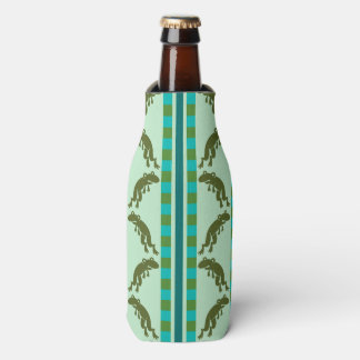 Frogs, Stripes and Checks in Green and Blue Bottle Cooler