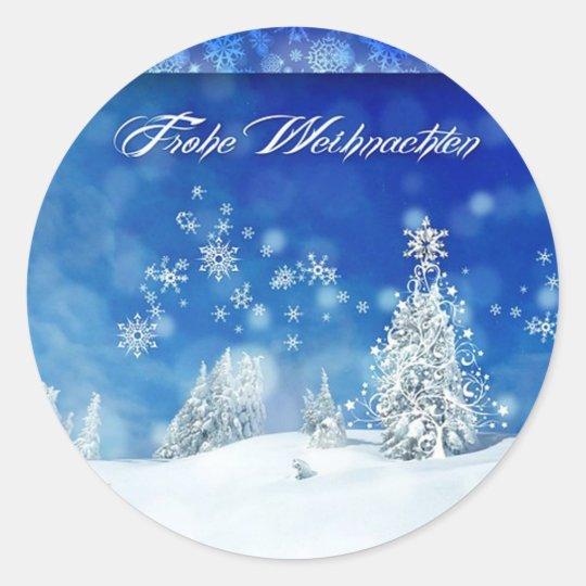 Frohe Weihnachten Classic Round Sticker