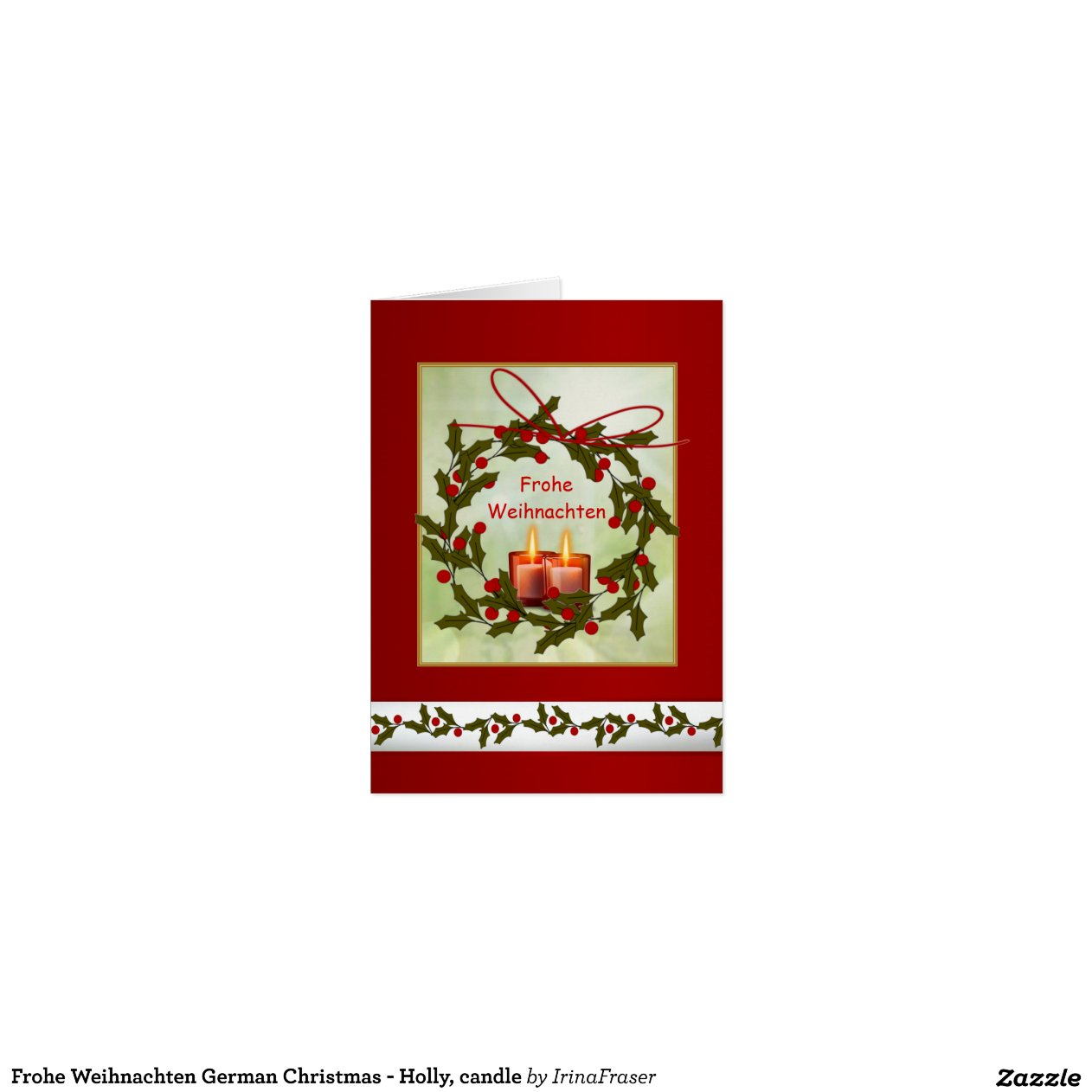 frohe weihnachten german christmas holly candle zazzle. Black Bedroom Furniture Sets. Home Design Ideas