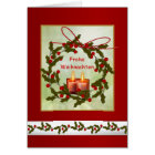 Frohe Weihnachten German Christmas - Holly, candle Card