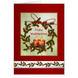 Frohe Weihnachten German Christmas - Holly, candle Greeting Card