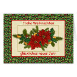 Frohe Weihnachten German Christmas - Poinsettia Greeting Card