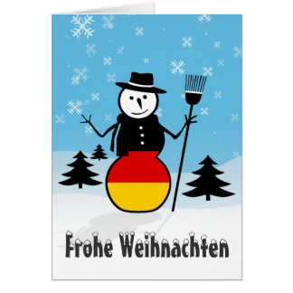 Frohe Weihnachten Merry Christmas Germany Snowman Card