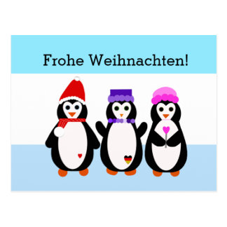 Frohe Weihnachten! Penguins with German Heart Postcard