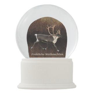 Fröhliche Weihnachten - Bull Caribou (Reindeer) Snow Globe