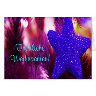 Fröhliche Weihnachten Christmas Blue Star Card