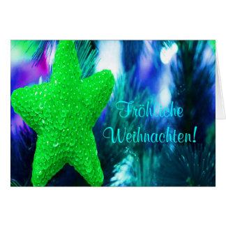 Fröhliche Weihnachten Christmas Green Star Card