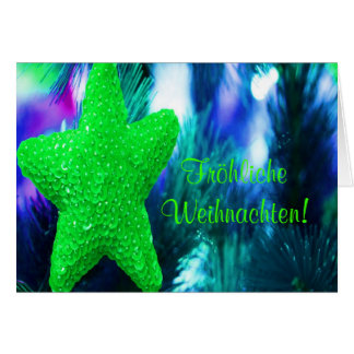 Fröhliche Weihnachten Christmas Green Star I Card