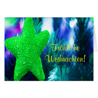 Fröhliche Weihnachten Christmas Green Star II Greeting Card