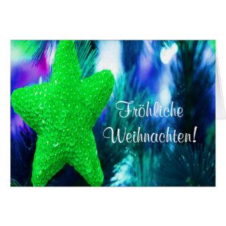 Fröhliche Weihnachten Christmas Green Star III Card