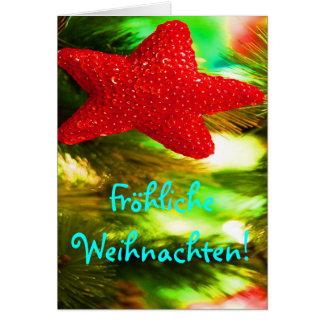 Fröhliche Weihnachten Christmas Red Star Card