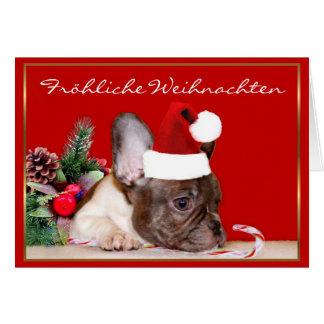 Fröhliche Weihnachten French Bulldog greeting card