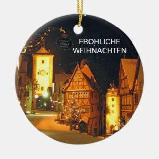 FROHLICHE WEIHNACHTEN (MERRY CHRISTMAS) CERAMIC ORNAMENT