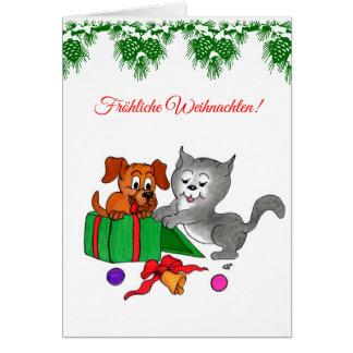 Fröhliche Weihnachten mit Hund und Katze Card