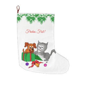 Fröhliche Weihnachten mit Hund und Katze Large Christmas Stocking