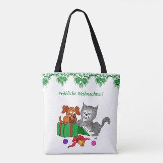 Fröhliche Weihnachten mit Hund und Katze Tote Bag