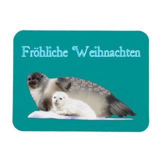 Froliche Weihnachten - Ringed Seal Rectangular Photo Magnet