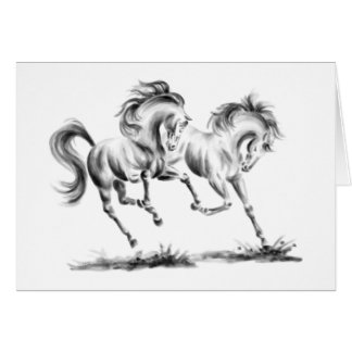 Frolicking Horses Drawing by Kelli Swan Card
